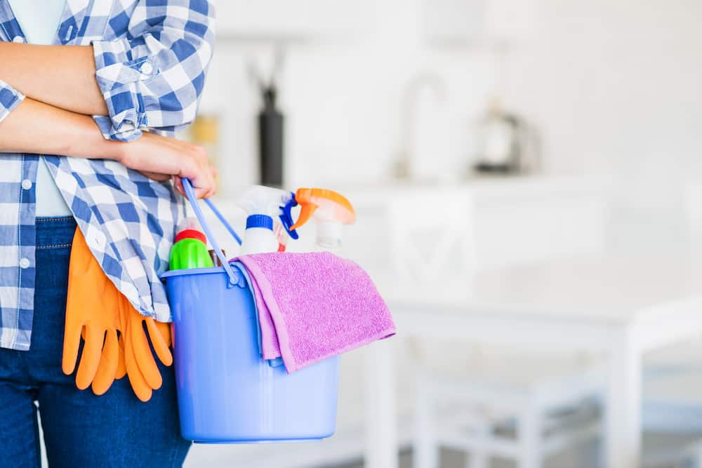 woman with a bucket of cleaning equipments