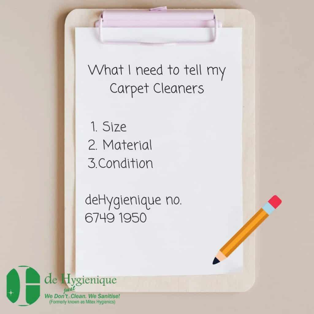 What I need to tell my Carpet Cleaners