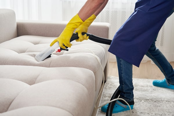Hot Water Extraction on Sofa